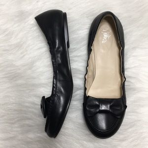Wittner Angelica Black Leather Bow Flats
